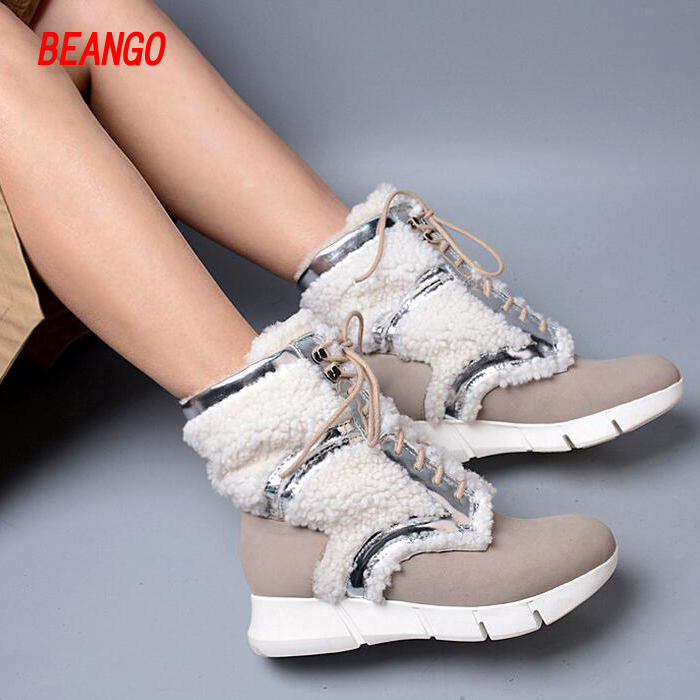BEANGO New Women Snow Boots Real Leather Flat Platform Mid Calf Winter Boot Lady Fur Warm Boots Korean Style Lace-up Woman Boots double buckle cross straps mid calf boots