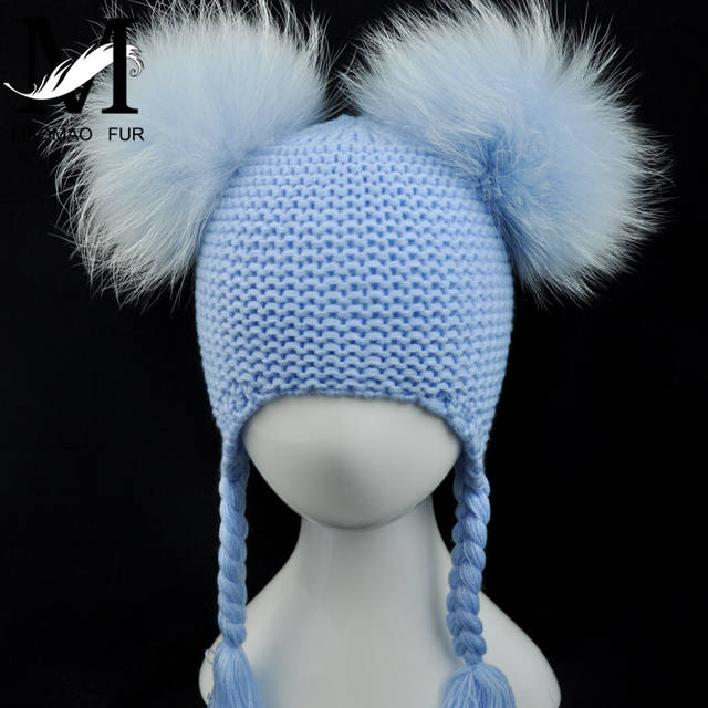 0e89aac06 Kids Real Fur Pom Pom Hat Baby Winter Crochet Earflap Hat Girls Boys  Knitted Beanie Double Two Real Fur Pompom Hat for Children