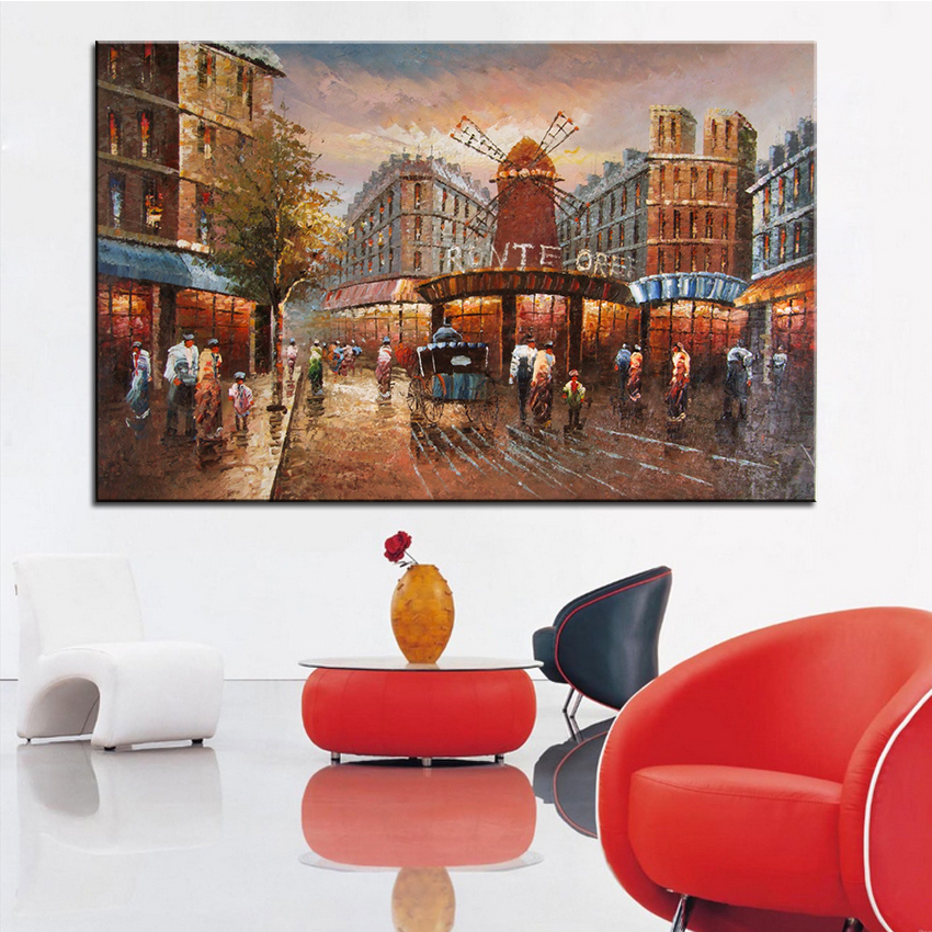 Extra Large wall Painting of building Home Office Decoration paint Canvas Prints No Framed Canvas wall picture Giclee art no frame canvas