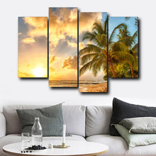 Laeacco Tropical Palm Tree Sunrise Posters and Prints Abstract Wall Art Canvas Painting Living Room Bedroom Home Decor