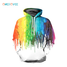 ONEDOYEE Men's Sportswear Pullover Tops Splash Paint Men Hoodies with Cap 3d Print Sweatshirt Paint Tracksuits Exercise Sweaters