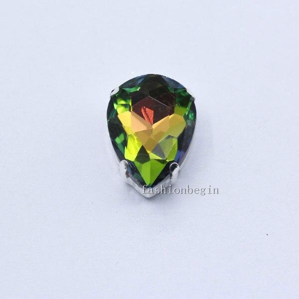 Все размеры слеза 24-Цвет стекло камень Пришить с украшением в виде кристаллов Стразы diamantes для шитья серебряной оправе в виде когтя для рукоделия Костюмы аксессуары - Цвет: medium
