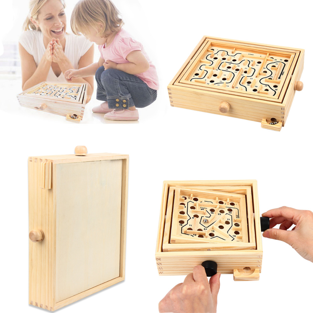 Wooden Labyrinth Original Wooden Labyrinth Puzzle Solitaire Maze Game For Kids And Adults - Educational