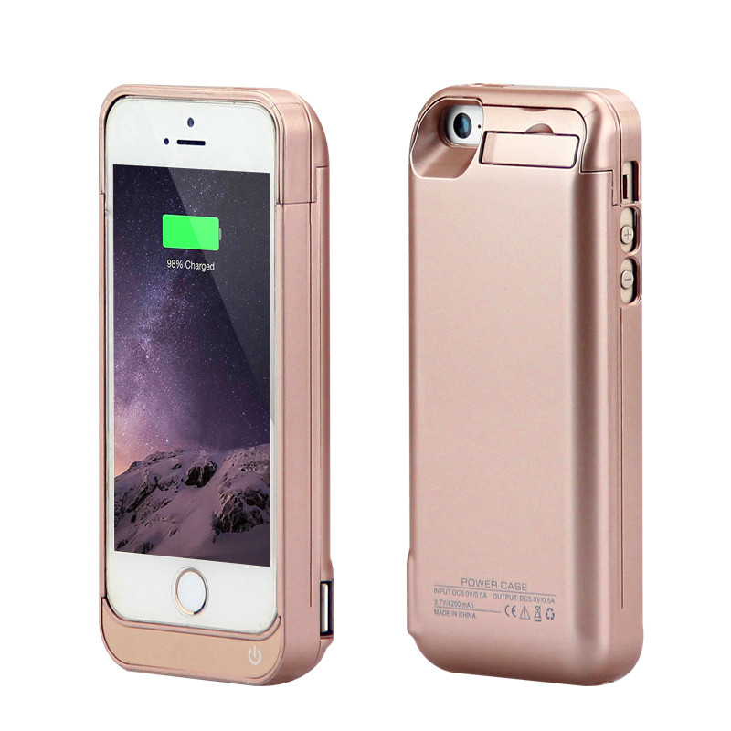 imágenes para GagaKing 4200 mah caja de batería de alta calidad para El Iphone 5c/SE/5/5S ABS negro cargador de batería caso para El Iphone 5 estuche protector 5S