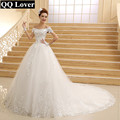 QQ Lover Vestido De Novia 2017 New Bride Princess White Lace Embroidery Beading Luxury Long Royal Train Plus Size Wedding Dress