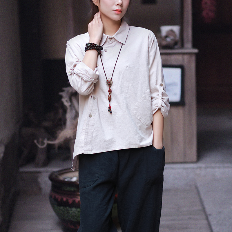 Women Cotton Linen Irregular Hem Shirts Ladies Long Sleeve Loose Blouse Solid Color Single Breasted Shirts 2017 Spring Summer 8