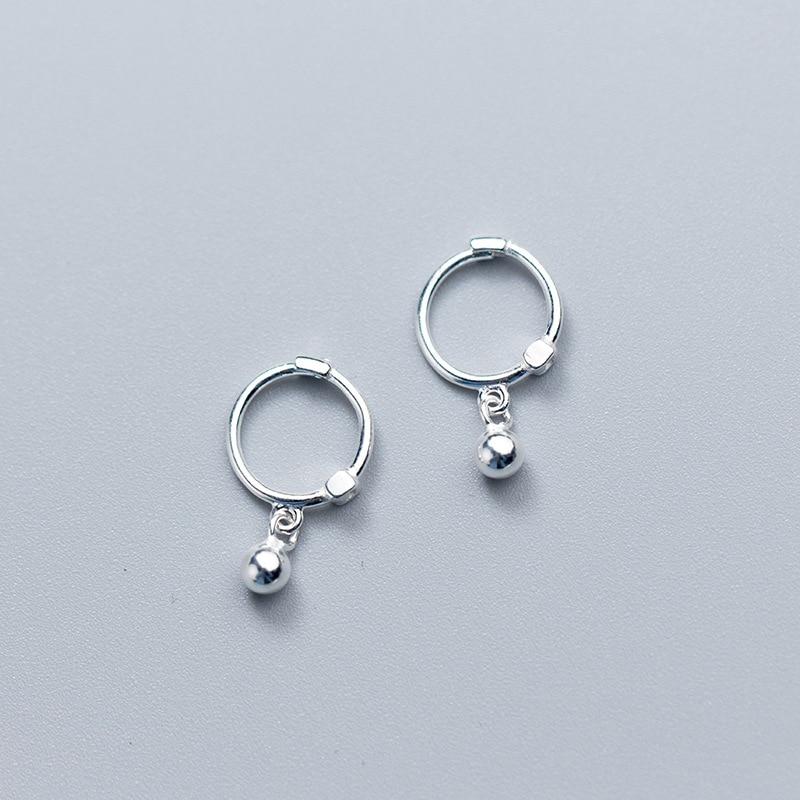 33e9d604321d MloveAcc lindos pendientes de aro pequeños de Plata de Ley 925 para mujeres  S925 joyería de plata niños niñas Aros Aretes