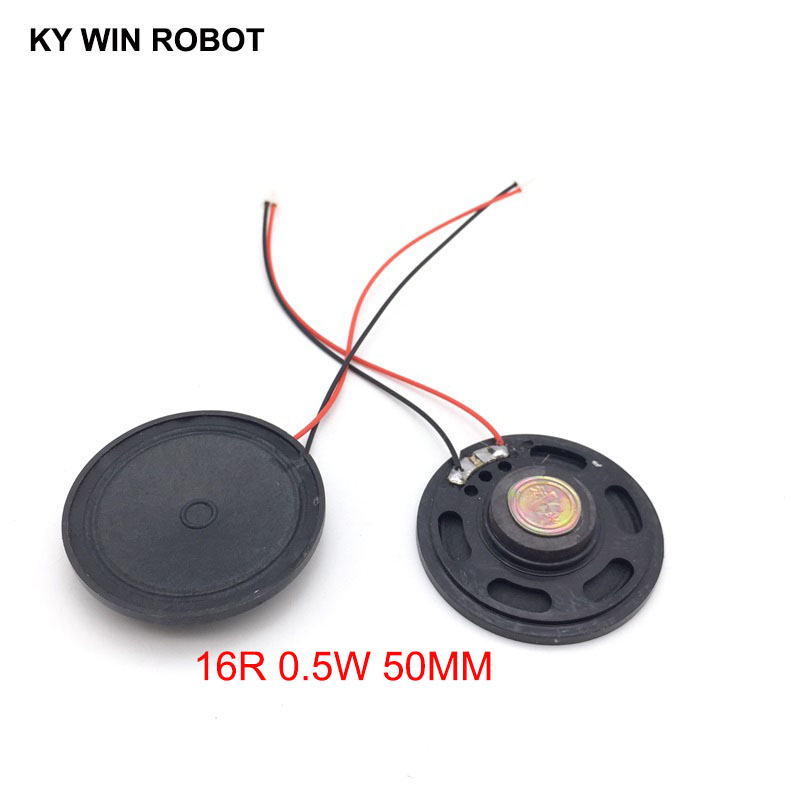 Passive Components Aggressive 2pcs/lot New Ultra-thin Toy-car Horn 16 Ohms 0.5 Watt 0.5w 16r Speaker Diameter 50mm 5cm With Ph2.0 Terminal Wire Length 10cm