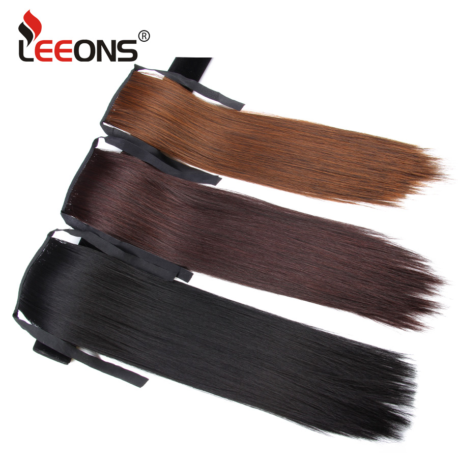 Leeons 20 Inch Heat Resistant Ponytail Hair Extension Ombre Pony Tail Hairpieces For Women And Girl Black Brown Synthetic Hair