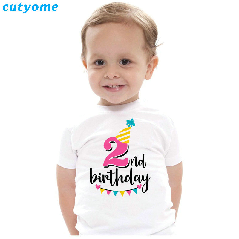 Summer Baby T Shirt Tops Children's Clothing Happy Birthday Girls Boys Short Sleeve Kids Clothes Tee Girls Boys' T-shirts Casual (28)
