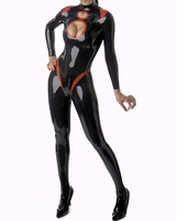 Sexy Fetish Latex Catsuit Women Garment Black Rubber Bodysuits with Holes Tight Clothing Plus Size Hot Sale