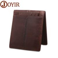 2016 Vintage Crazy Horse Leather Men Wallet Genuine Leather Short Money Clip Casual Card Holder Coin
