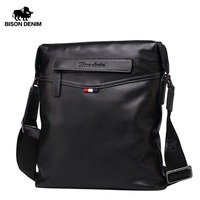 BISON DENIM Bag Men Classic Genuine Leather Crossbody Bag Business Shoulder Bag Large Capacity Ipad Messenger Bag Black N2490 1