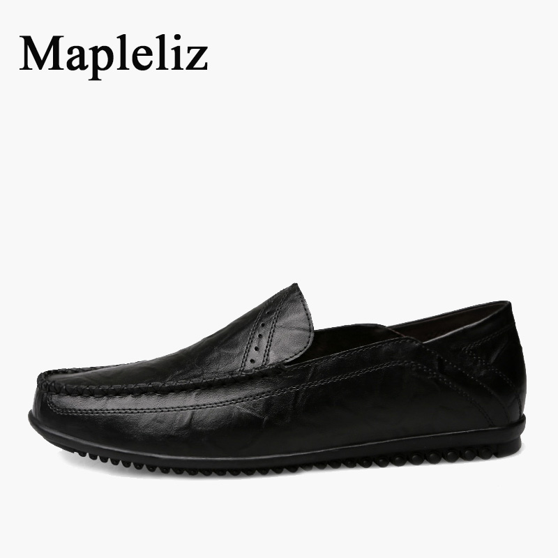 Mapleliz Brand Men Loafers Handmade Sewing Genuine Cow Leather Slip-On Male Flats Casual Soft Classics Driving Shoes for Men npezkgc handmade genuine leather men s flats casual luxury brand men loafers comfortable soft driving shoes slip on moccasins