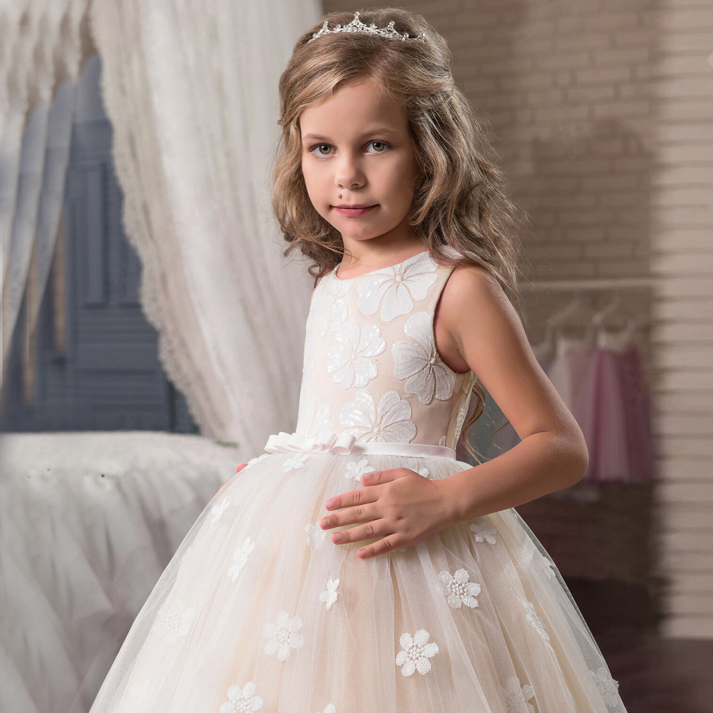Flower Girls Dresses 2018 Tule Princess Party Formal Dress Teen Child Wedding White Prom Pageant Gowns For Kids Evening Clothing (2)