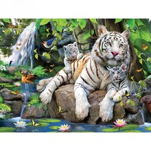 White tiger lotus diamond Embroidery diy painting mosaic diamant 3d cross stitch pictures H501