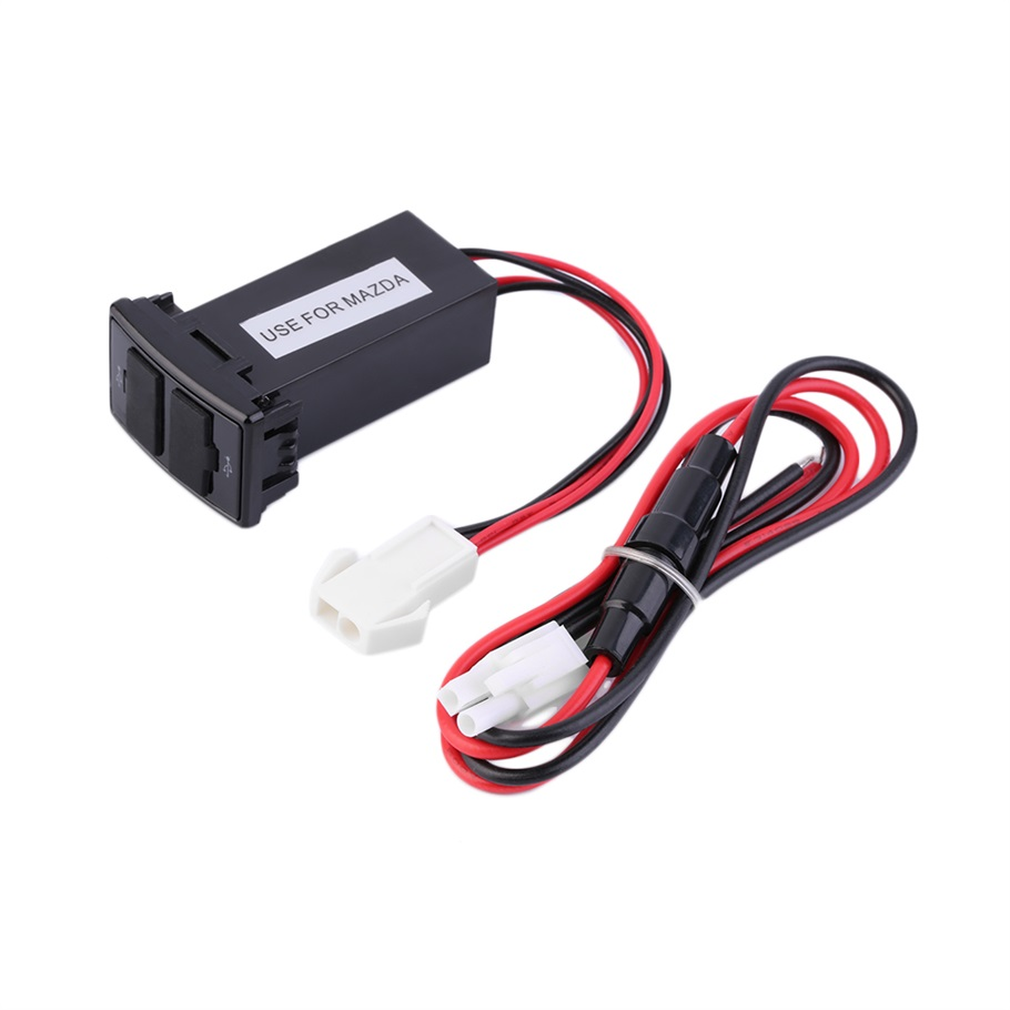 1pc Dual Usb Aux Ports Dashboard Mount Fast Charger 5v For