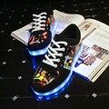 Luz LED para arriba de Invierno para Adultos 2016 de La Nueva Manera 11 colores Zapatos Luminosos con USB Recargable Hombres Unisex led cordones de los Zapatos de Graffiti