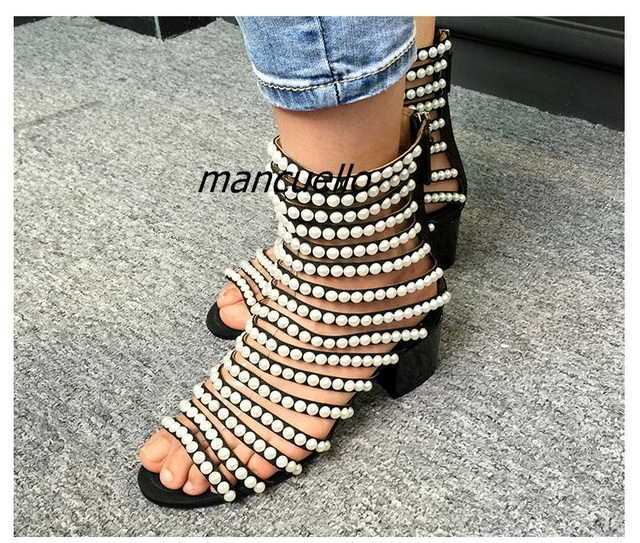 0385540b2c1 US $85.3 |New Arrival Pearl Cut out Block Heel Gladiator Sandals Fashion  Summer Open Toe Chunky Heel Booties Trendy Stage Dress Shoes-in Ankle Boots  ...