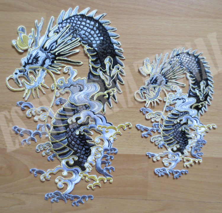 Pair of Chinese dragon ethnic style large Embroidery Patches for Jacket Back Vest Motorcycle Biker one big and one small