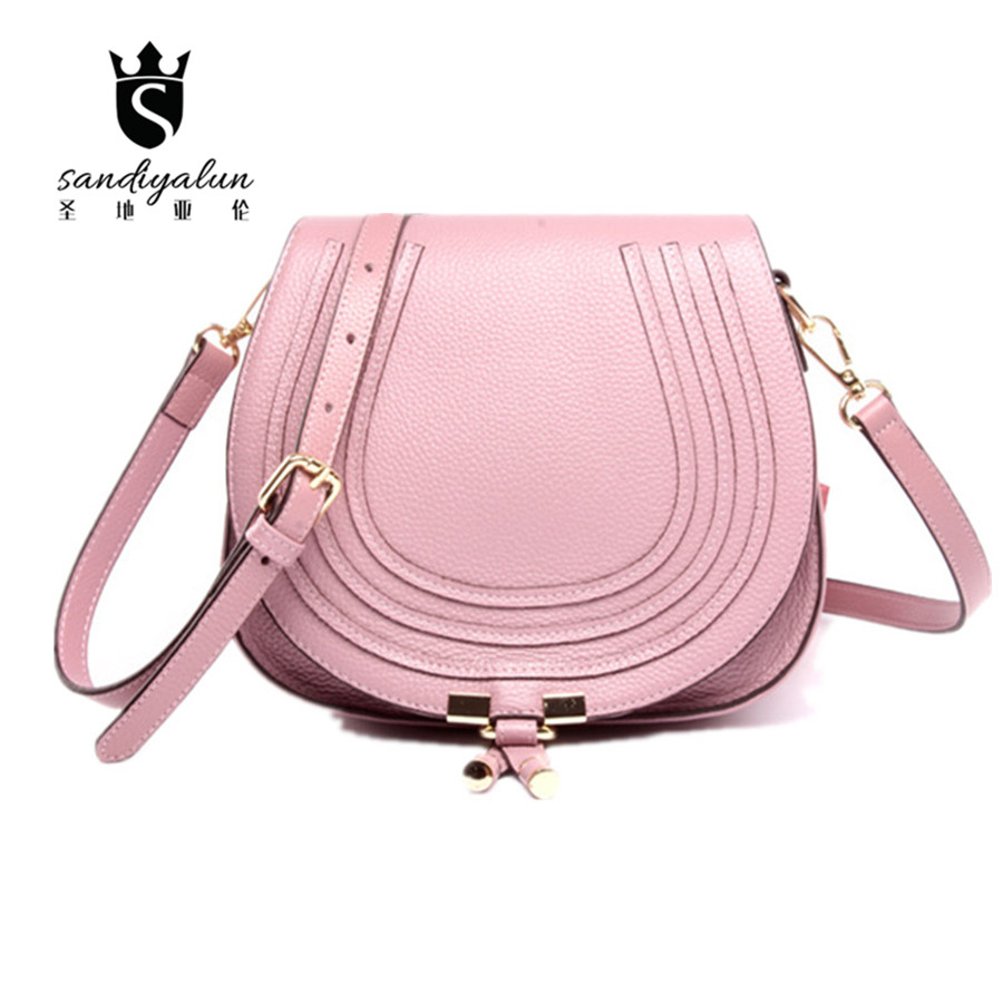 Summer Small Simple Solid Genuine leather Messenger Bags Famous Brand Women Crossbody Shoulder Bag For Ladies  Saddle Bag famous brand women messenger bags 2016 fashion pu bag 4 colors solid color women bag
