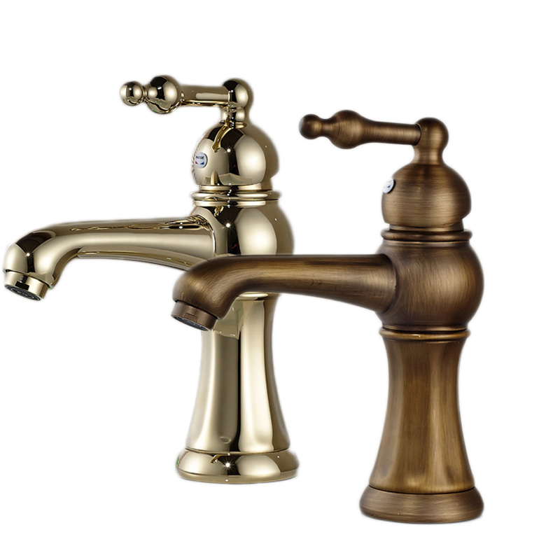 Free Shipping Brass Antique Basin Sink Faucet Short Deck Mounted Hot and Cold Tap for Washbasin