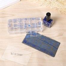 1 conjunto 12*5cm gigante transparente stamper retangular silicone arte do prego stamper e 1 raspadores