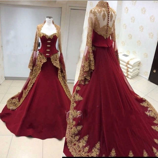 Vintage Burgundy Gold Gothic Wedding Dresses With Long