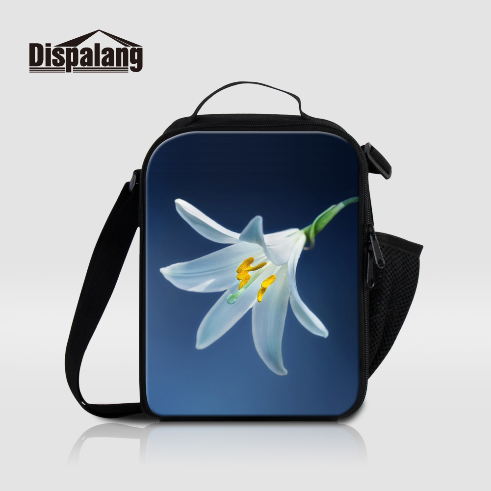Dispalang Thermal Insulated Lunch Bags For Teenage Girls 3D Printing Flower Picnic Food Cooler Bag Box For Children Meal Package