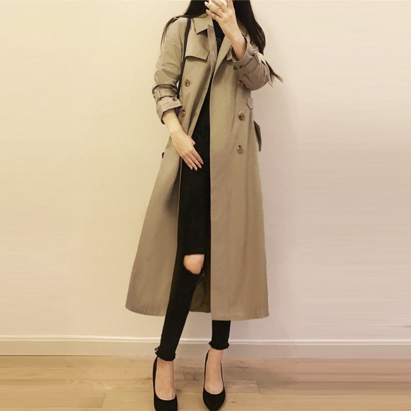 Khaki   Trench   Coats Women Medium Long Double Breasted Casual Coats Tops 2018 Autumn Winter Ladies Elegant Trenchs Outwear FP1409