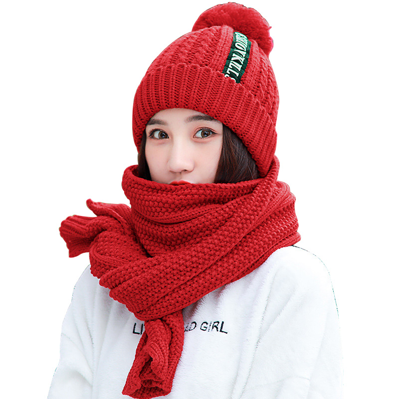 Plus Velvet Thicken Knitting Woman's Hat And Scarf Long Winter Shawl Wrap Solid Color Knit Warm Beanie For Girl Outdoor 2/Set