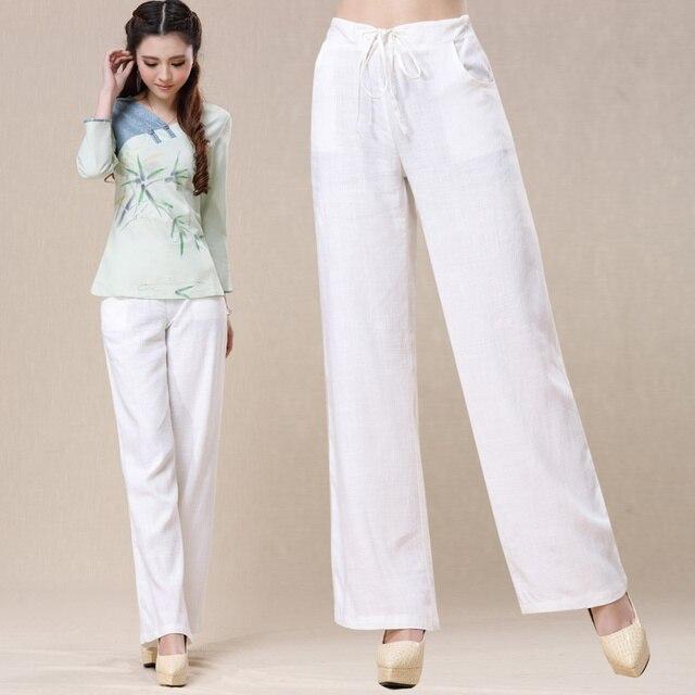 ff95de18259 Traditional Chinese Clothing 2017 Women Summer Bohemian Elegant Original  Long White Wide Leg Pant Trousers DA25