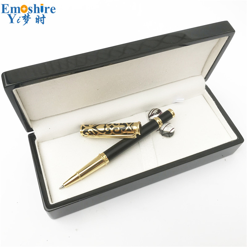 Luxury Gold Clip Wood Box Hollow Out Pattern Golden Black Birthday Gift Pen Set for Man Mens Roller Ball Pen Ballpoint Pens P634 стоимость