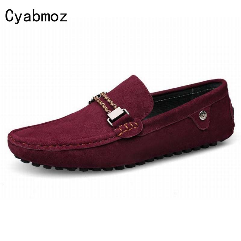 Men Loafers Moccasins Casual Men Shoes Man Fashion Cow Suede Leather Slip On Shoes Men's Flats Driving Shoes Soft Peas Shoes split leather dot men casual shoes moccasins soft bottom brand designer footwear flats loafers comfortable driving shoes rmc 395