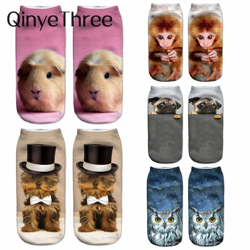 New 3D Printi Women Socks Unisex Cute Low Cut Ankle Sock Multiple Colors Casual Funny Hamster Dog Cat Monkey Owl Sokken