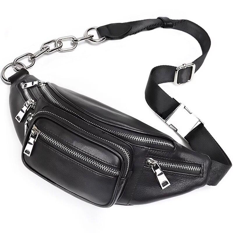 Luxury Brand Cross Chest Bag Women Black Fanny Pack Genuine Leather Running Waist Bag Sport Fashion Pouch Belt Bag Designer