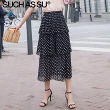 New Women Clothes Summer 3 Layers Chiffon Polka Dot Skirts Black White Elastic Waist Wave Point Skirt Female Midi Tutu