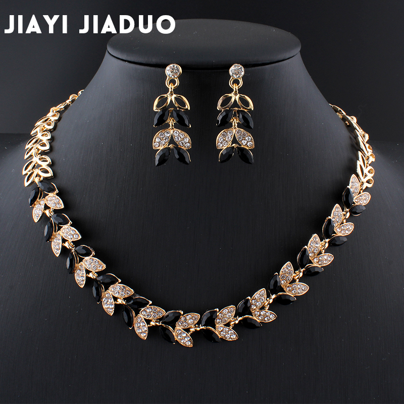 Jiayijiaduo New Wedding Jewelry Sets For Charming Women Dresses Dating Accessories Green Glass Crystal Necklace Earrings Sets #6