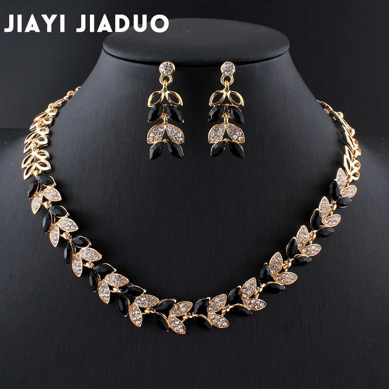jiayijiaduo New Wedding Jewelry Sets for Charming Women Dresses Dating Accessories Green Glass Crystal Necklace Earrings Sets