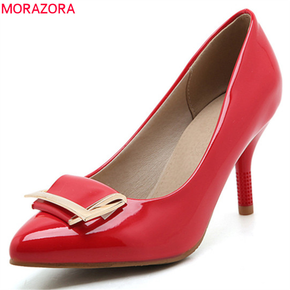 MORAZORA 2018 spring autumn pointed toe thin heels pumps women shoes high heel with metal decoration slip on ladies shoes trendy thin heel pointed toe women polka dot pump spring slip on high heels black white stiletto 2018 brand fetish factory shoes