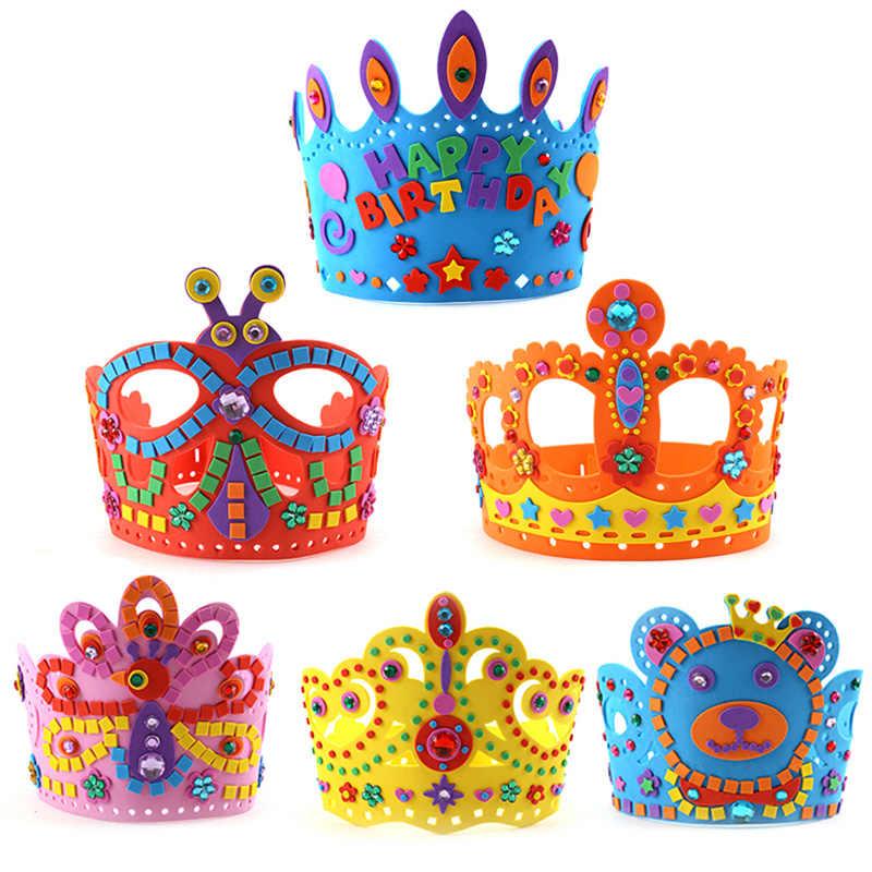 6pcs Children EVA Sticker Crown Handmade Toy Kids DIY Birthday Hat Stickers Kindergarten Supply Educational Craft