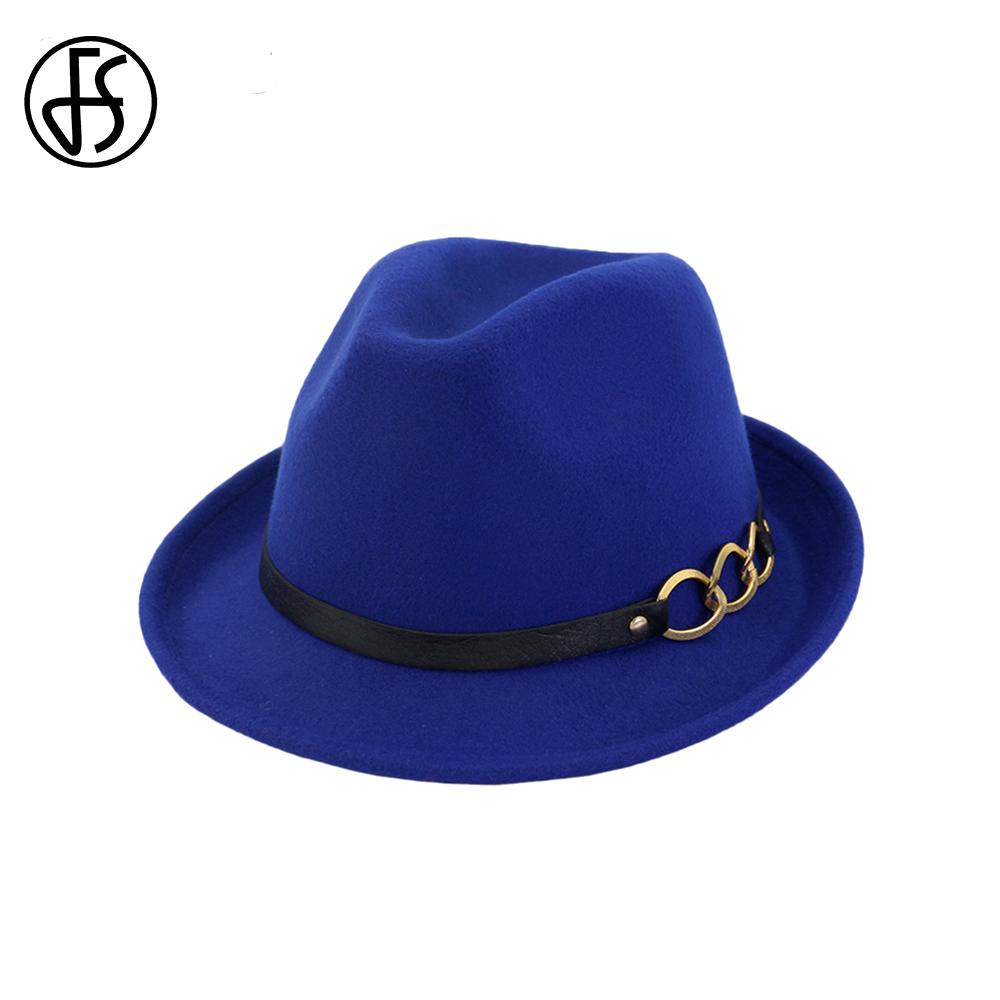 10663a0773024 Detail Feedback Questions about FS Royal Blue Cotton Wide Brim Men Fedora  Hat Classic Godfather Vintage Church Hats Women Elegant Bowler Top Cap With  Ribbon ...