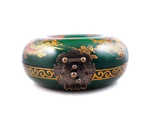 Collier rond en bois finition verte boîte à bijoux Dragon Phoenix serrure en laiton peint