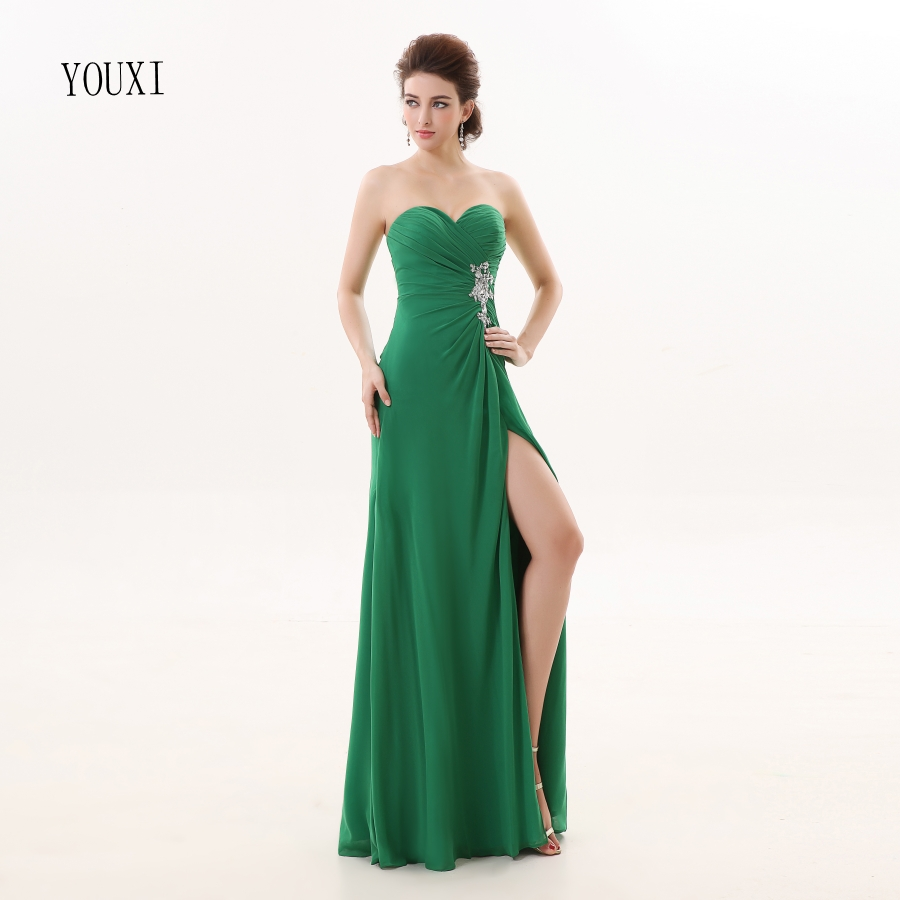 Bridesmaid     Dresses   2017 YOUXI BD011 Women's Off Shoulder Sweetheart Green Padded vestidos Chiffon   Dresses