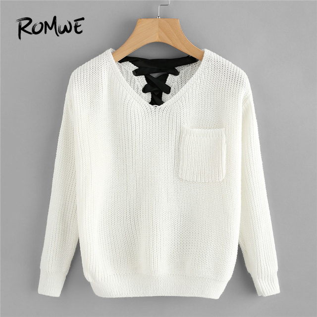 ROMWE White Pocket V Neck Lace Up Back Texture Knit Sweater Women Casual  Autumn Winter Plain a78853edf