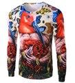 Новый 2015 мода марка дизайнер хлопок футболки свободного покроя с длинным рукавом печать птица Coloful T - рубашка высококачественный мужчин 14T63