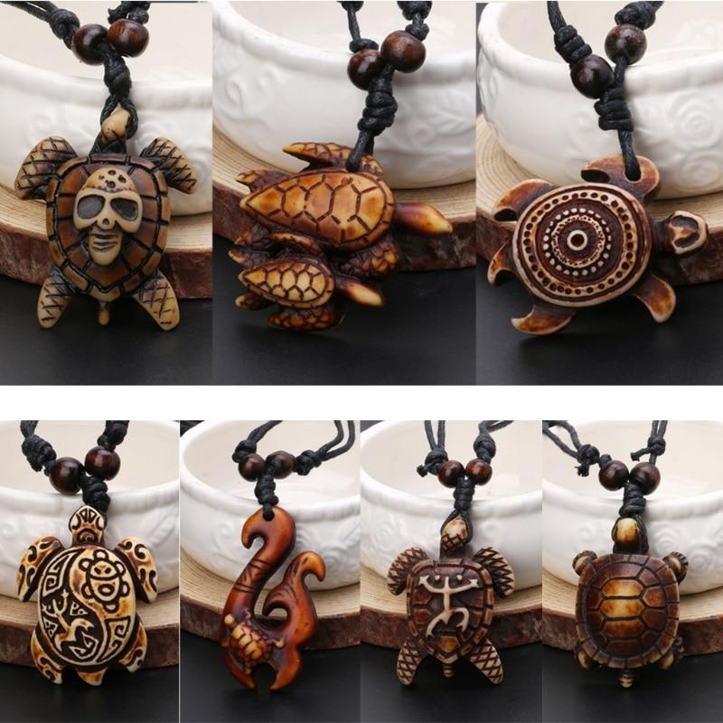 7pcs Ethnic Tribal Faux Yak Bone Lucky Surfing Wood Sea Turtle Pendants Necklace