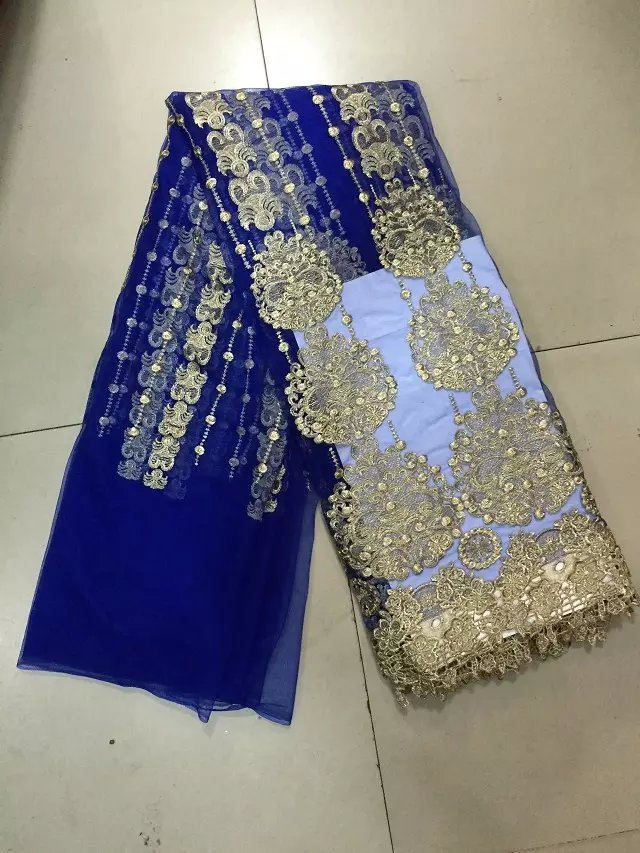 Royal blue and gold thread embroidery fabric,latest
