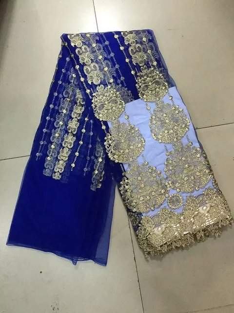 Royal blue and gold thread embroidery fabric,latest wholesale African network 100% cotton with high quality lace cord fabric.