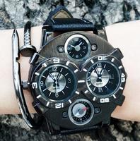 Fashion Mens Watch Top Brand Luxury Women Quartz Watch Leather Military Sports Wrist Watch Wristwatch Large